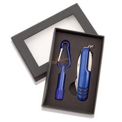 Zestaw w czarnym pudełku: narzędzie wielofunkcyjne / scyzoryk (7 el.) i latarka 1 LED z karabińczykiem