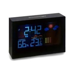 Stacja pogodowa, zegar, alarm, wskazuje temperaturę, wilgotność powietrza, podświetlany wyświetlacz