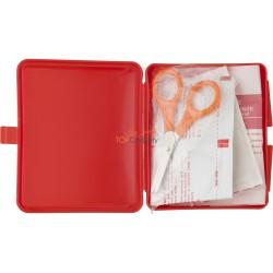 Apteczka, zestaw pierwszej pomocy w etui, zawiera 5 plastrów, 2 chusteczki nasączone alkoholem, 1 rolkę taśmy oraz 1 nożyczki