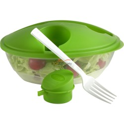 Miska do sałatek (pojemność 1000ml) z pokrywką, widelcem oraz małym pojemnikiem na sos do sałatki (pojemność ok. 50 ml)