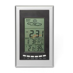 Stacja pogodowa, zegar, kalendarz, termometr, prognoza pogody