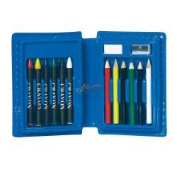 Zestaw do rysowania w pudełku, 6 kredek zwykłych, 6 świecowych, temperówka i gumka