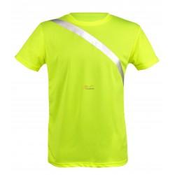 Koszulka odblaskowa z ukośnym pasem odblaskowym z przodu i z tyłu na wysokości klatki piersiowej