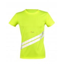 Koszulka odblaskowa z dwoma ukośnymi pasami odblaskowymi z przodu na wysokości brzucha oraz na rękawkach