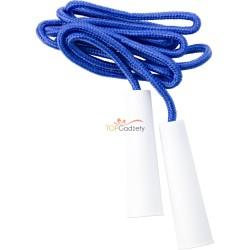 Skakanka z białymi uchwytami i liną o długości ok. 2 m