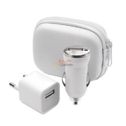 Podręczny zestaw w etui, ładowarka USB i ładowarka samochodowa USB, 1000 mA