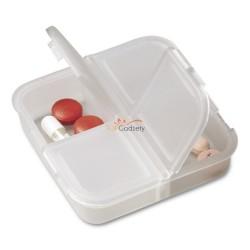 Półprzezroczysty pojemnik na tabletki z 4 przegrodami