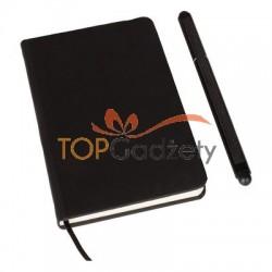 Notatnik A6 (kartki w linie) z długopisem z zatyczką, touch pen