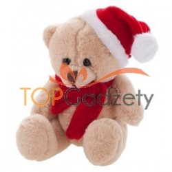 Miodowy miś świąteczny w szaliku i czapce
