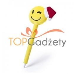 """Długopis """"uśmiechnięta buzia"""" ze świąteczną czapką"""
