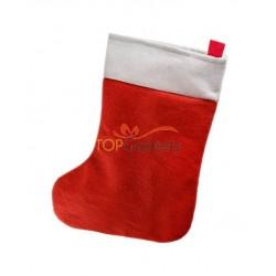 Czerwono–biała skarpeta na prezenty.