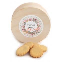 Pudełko łuba z ciasteczkami miodowymi i naklejką