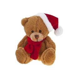 Brązowy miś świąteczny w szaliku i czapce pod nadruk