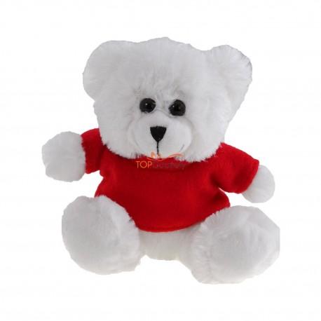 Biały miś z czerwoną koszulką pod nadruk